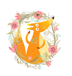 Cute fox with flowers garland vector