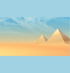 Desert landscape with ancient pyramids at sunset vector