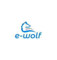 E wolf logo design vector