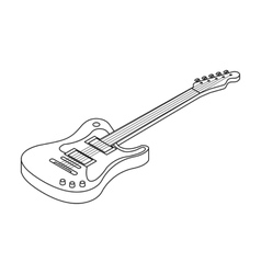Electric guitar icon in outline style isolated on vector image