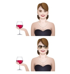 elegance cute young woman with glass of wine vector image