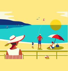 Family seaside leisure relax on beach flat vector