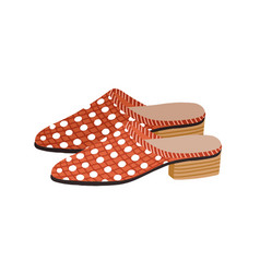 Fashion backless mule shoes or slippers with low vector
