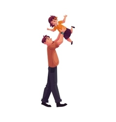 Father playing with daughter throwing her into air vector image