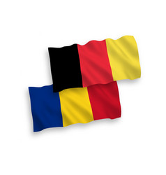 Flags belgium and romania on a white background vector