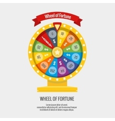 Fortune spinning wheel in flat style vector image