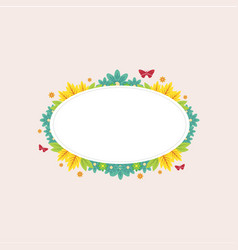 frame of spring flower and butterfly vector image