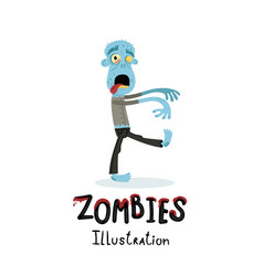Funny blue zombie character in cartoon style vector