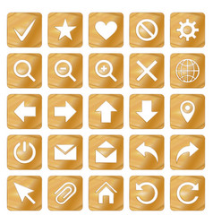 Gold colored metal chrome web icons set vector