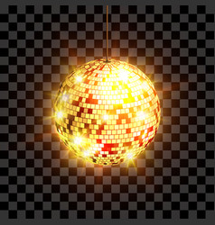 golden disco ball with light rays isolated on vector image