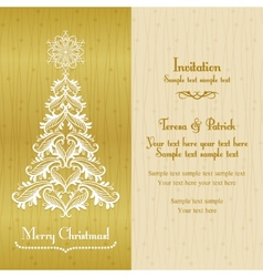 Greeting card with Christmass tree gold vector image