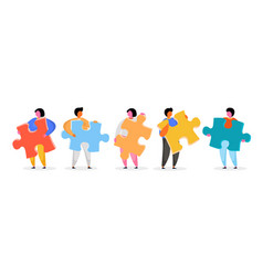 group people holding jigsaw puzzle vector image