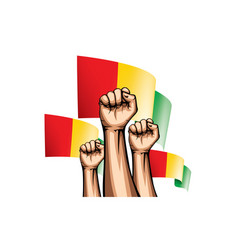 Guinea flag and hand on white background vector