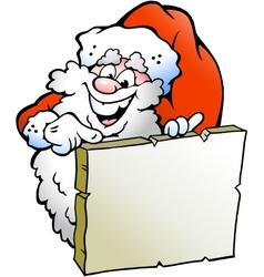 Hand-drawn of an Happy Santa pointing to a sign vector image
