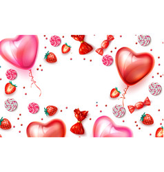happy valentine day heart balloon candy vector image