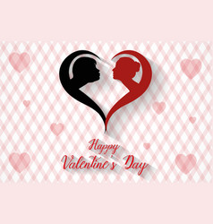 happy valentines day kissing couples silhouette vector image