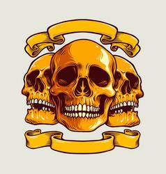 human art skull with banner vector image