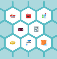 Icons flat style tap water detergent washing vector
