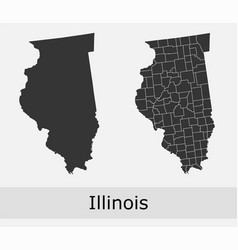 Illinois map counties outline vector
