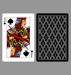jack of spades playing card and the backside vector image