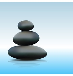 Japan style zen stone on blue water reflecting vector