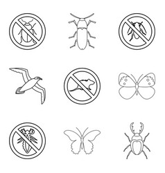 kill insect icons set outline style vector image