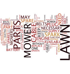 Lawn mower spare parts text background word cloud vector