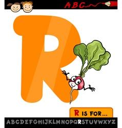 letter r with radish cartoon vector image