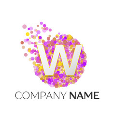 Letter w logo with purle particles and bubble dots vector