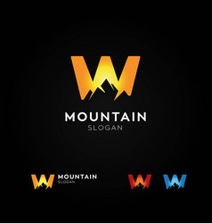 letter w mountain logo vector image