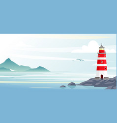 lighthouse with ocean or sea beach view on vector image