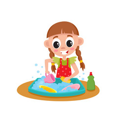 Little girl washing dishes in sink daily routine vector