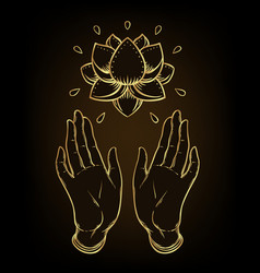 Lord buddha open hands holding lotus flower vector
