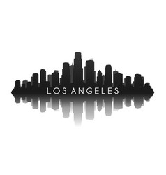 los angeles skyline in black with reflection vector image