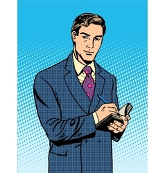 Male businessman with a notebook vector image