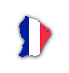 map and flag of french guiana vector image