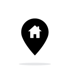 Map pin with home icon on white background vector