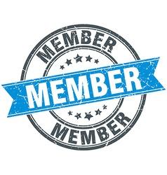 Member blue round grunge vintage ribbon stamp vector