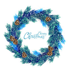 Merry christmas wreath with colorful leaves vector