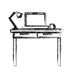 Monochrome blurred silhouette of work place office vector