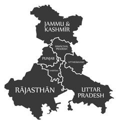Northern states of india map vector