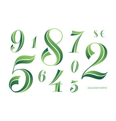 Numbers font classical geometric design of vector
