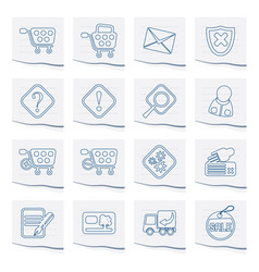 Online shop icons on a piece of paper vector