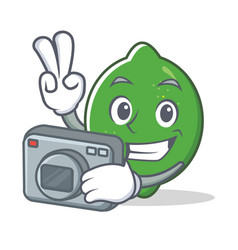 photographer lime mascot cartoon style vector image