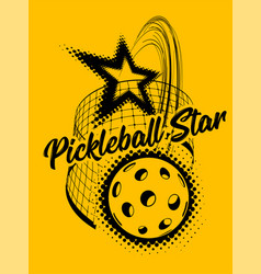 pickleball on yellow background vector image