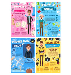 pilot tailor photographer jeweler professions vector image