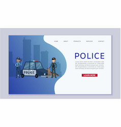 police patrol concept with cops and guard dog near vector image