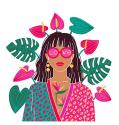 Portrait a brunette woman in urban jungle vector