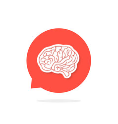 Red speech bubble with brain and shadow vector