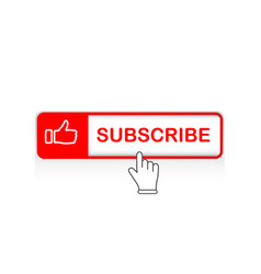 Red subscribe button with mouse pointer and vector
